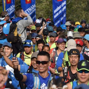 happy Vietnam marathon runners getting ready for the start