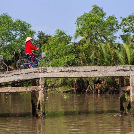 Vietnamese-women-riding-a-bicycle-Mekong-River-Delta-Vietnam