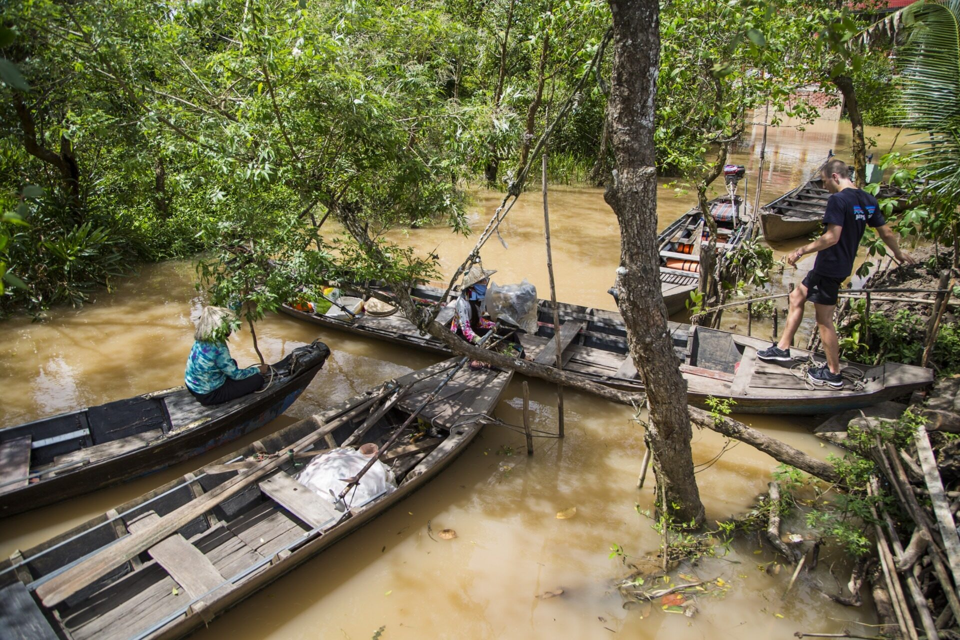 Boats in mekong river habour