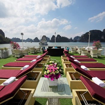 Sun bathing on Halong Bay boat