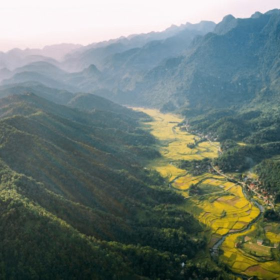 Scenery of mountain range in Pu Luong Nature Reserve
