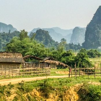 beautiful landscape in Dong Hoi featuring traditional vietnamese farmer houses